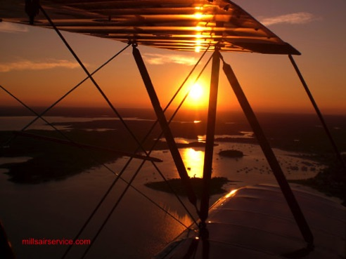 sunset view from biplane