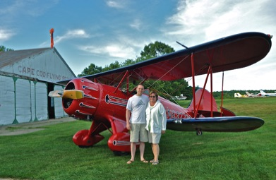 Happy biplane customers